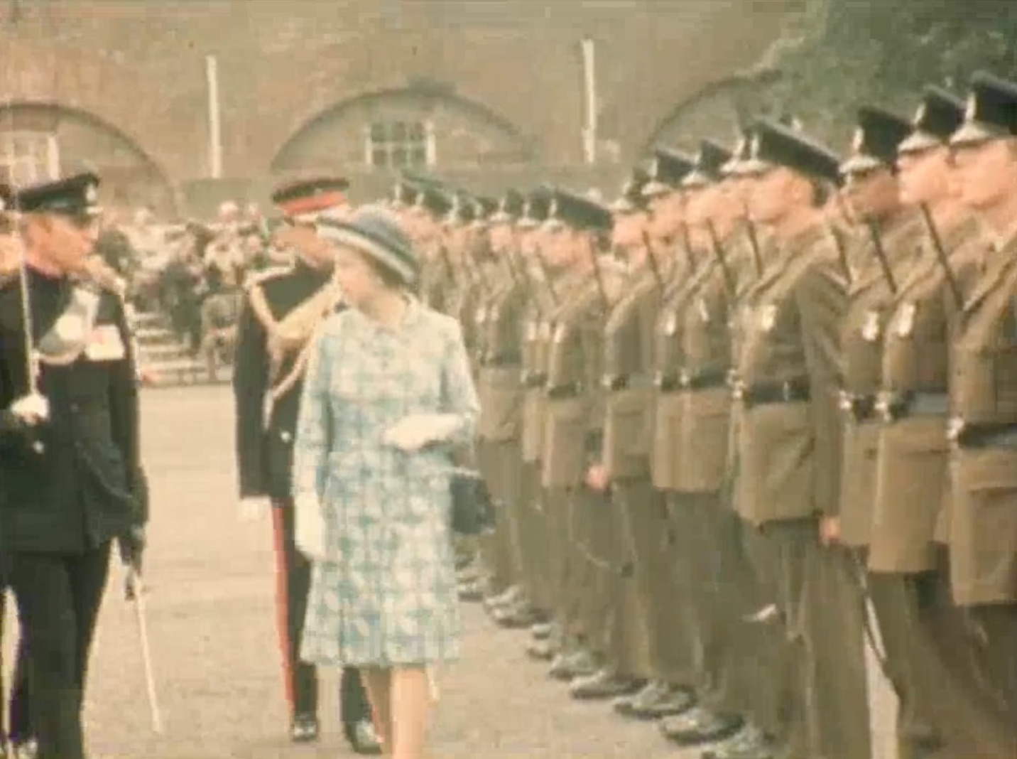 Her Majesty The Queen inspects the guard at 1975 Dover Tattoo